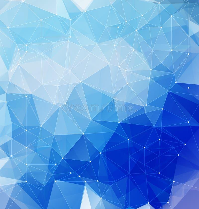 Голубая полигональная мозаика с сетью иллюстрация штока