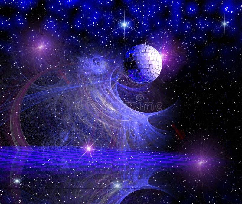 Голубая предпосылка космоса диско иллюстрация вектора
