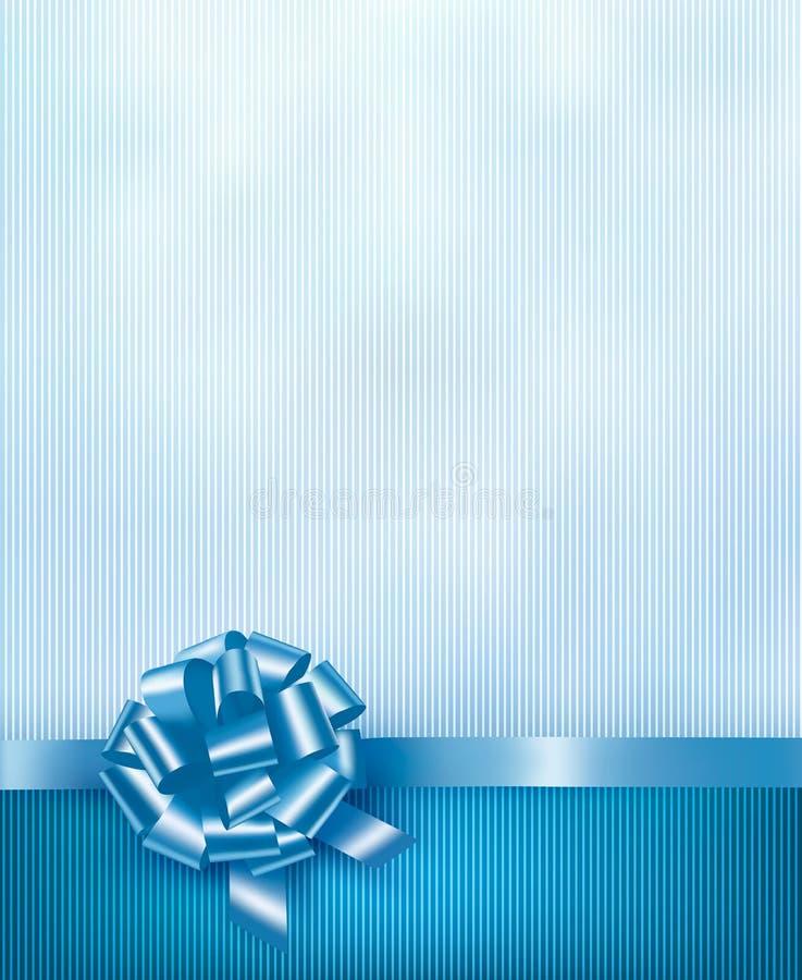 Голубая предпосылка праздника с смычком и лентой подарка лоснистыми бесплатная иллюстрация