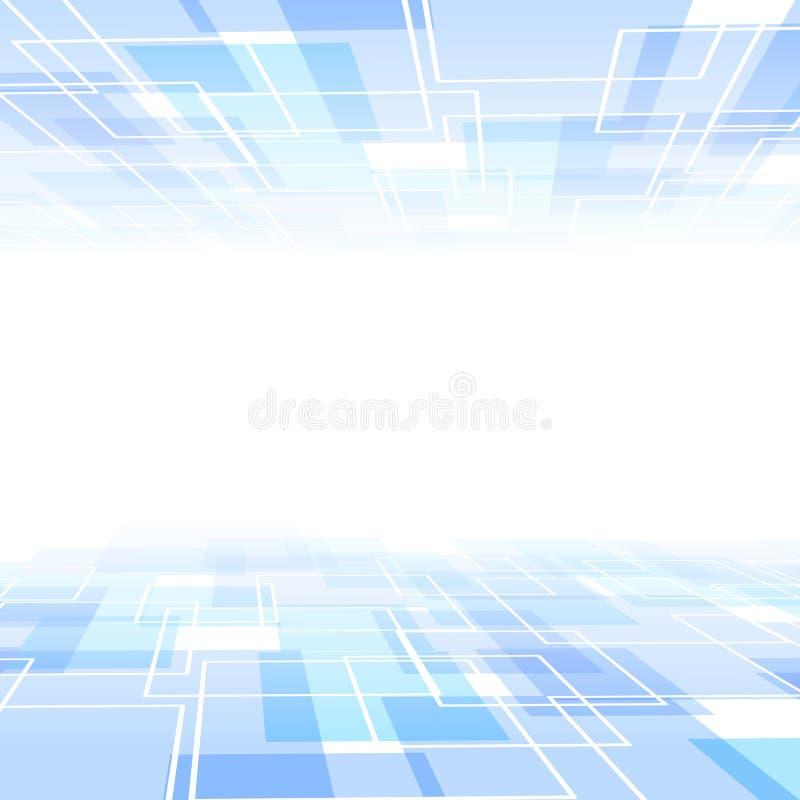 Голубая предпосылка плитки с перспективой иллюстрация вектора