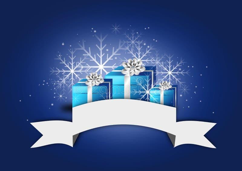 Голубая предпосылка рождества с подарками иллюстрация вектора