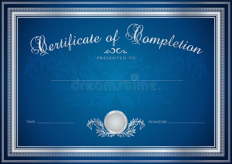 Голубая предпосылка сертификата/диплома (шаблон) иллюстрация штока