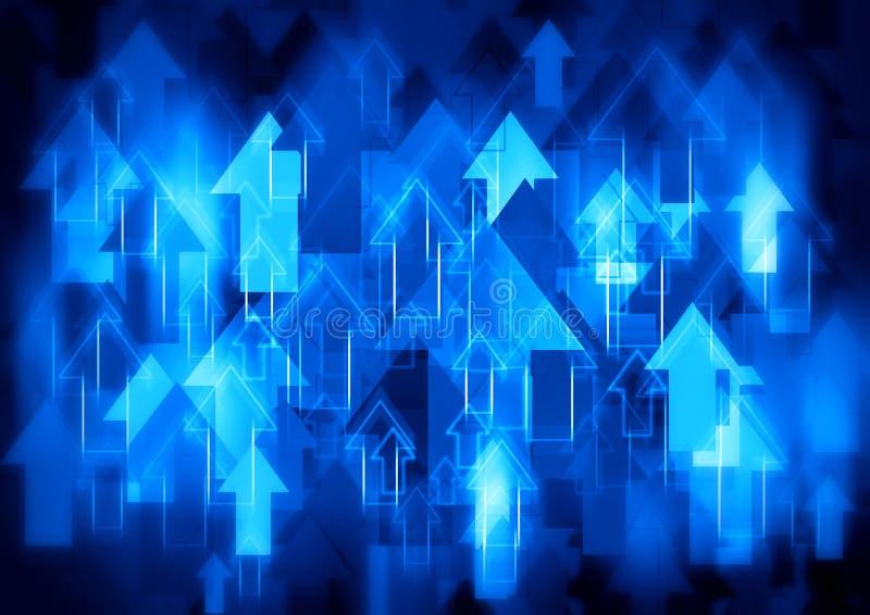 Голубая предпосылка стрелок иллюстрация вектора