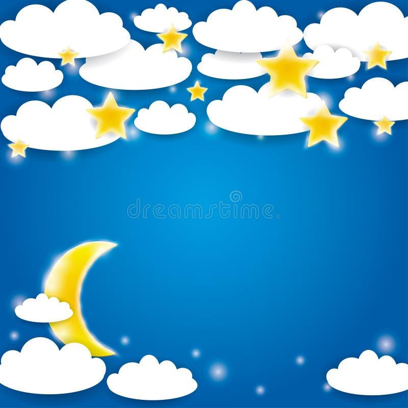 Голубая предпосылка с белыми облаками, звездами и поднимать луны вектор иллюстрация штока