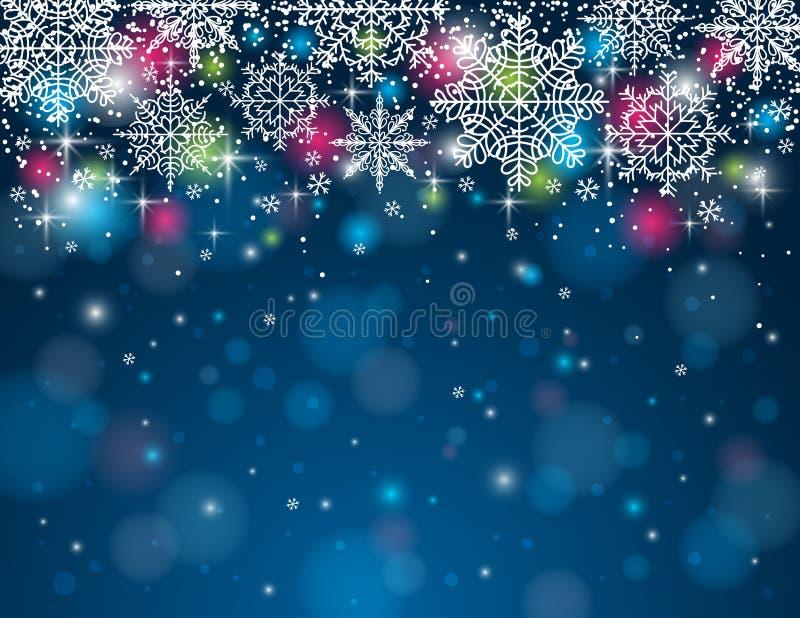 Голубая предпосылка с снежинками, вектор иллюстрация штока