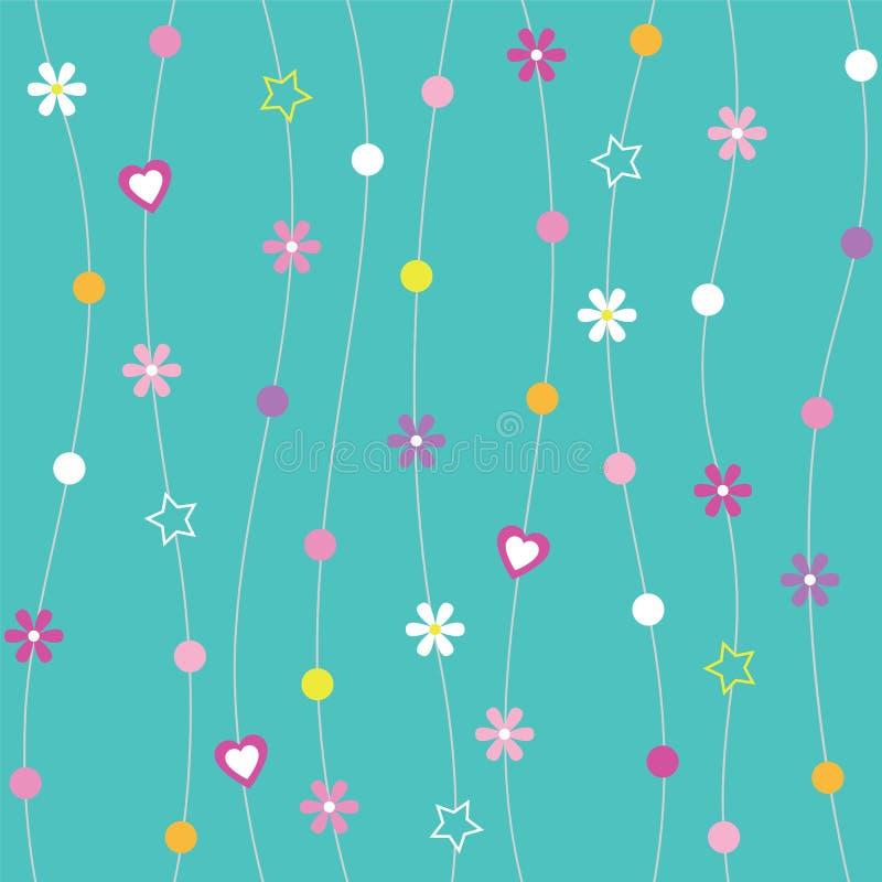 Голубая предпосылка точек & звезд цветков сердец бесплатная иллюстрация