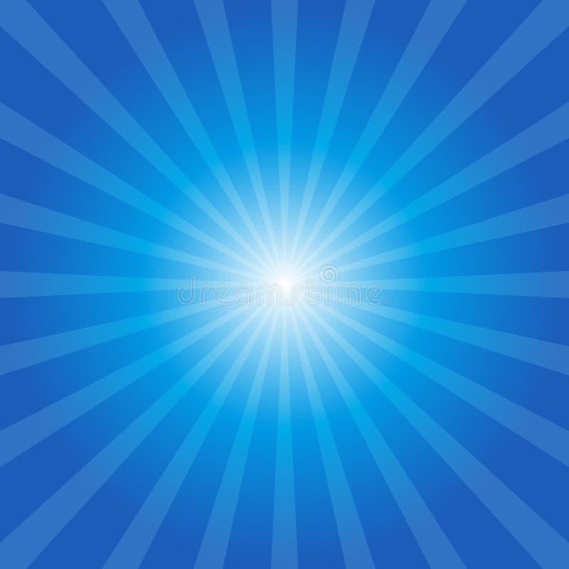 Голубая предпосылка sunburst иллюстрация вектора