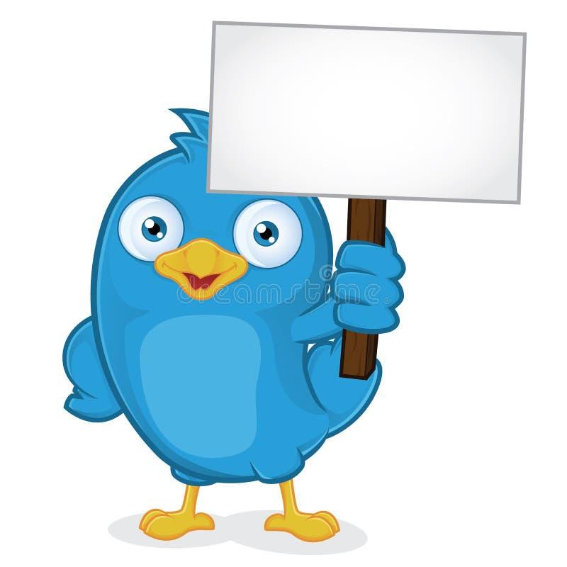 Голубая птица держа знак иллюстрация вектора