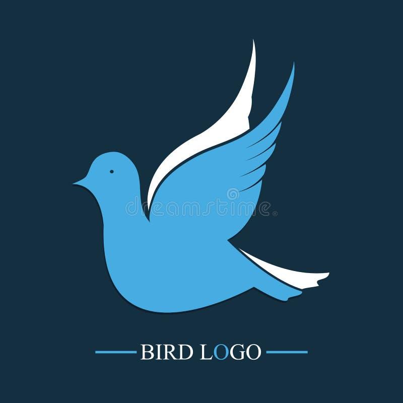 Голубая птица сеть вектора логоса глобуса Значок голубя летания иллюстрация вектора