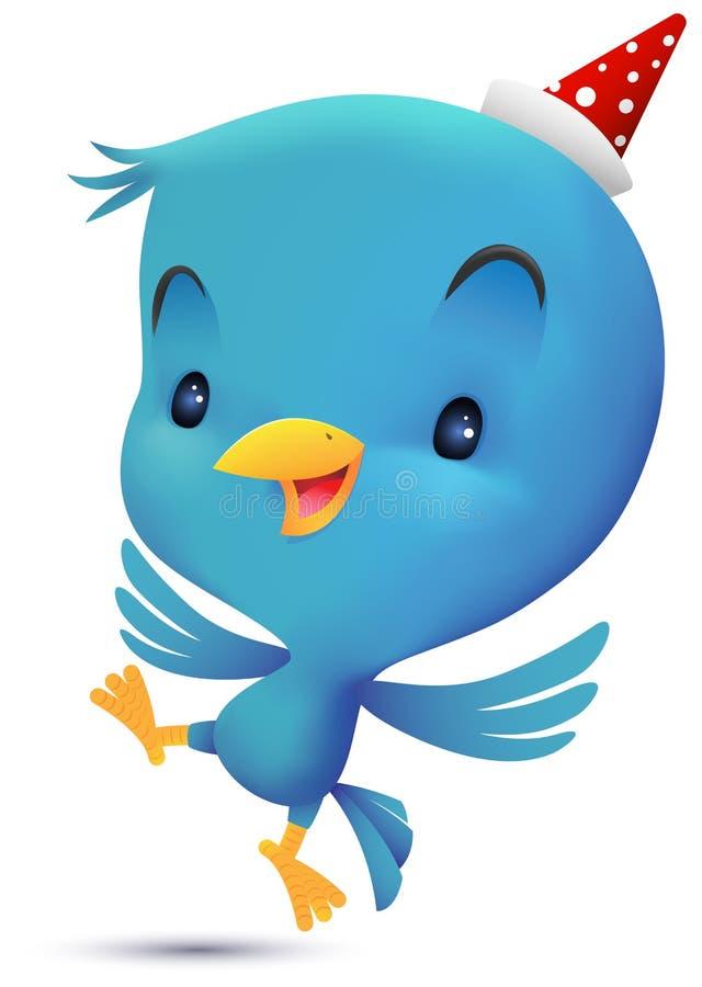 Голубая птица с шляпой делает танцы иллюстрация вектора