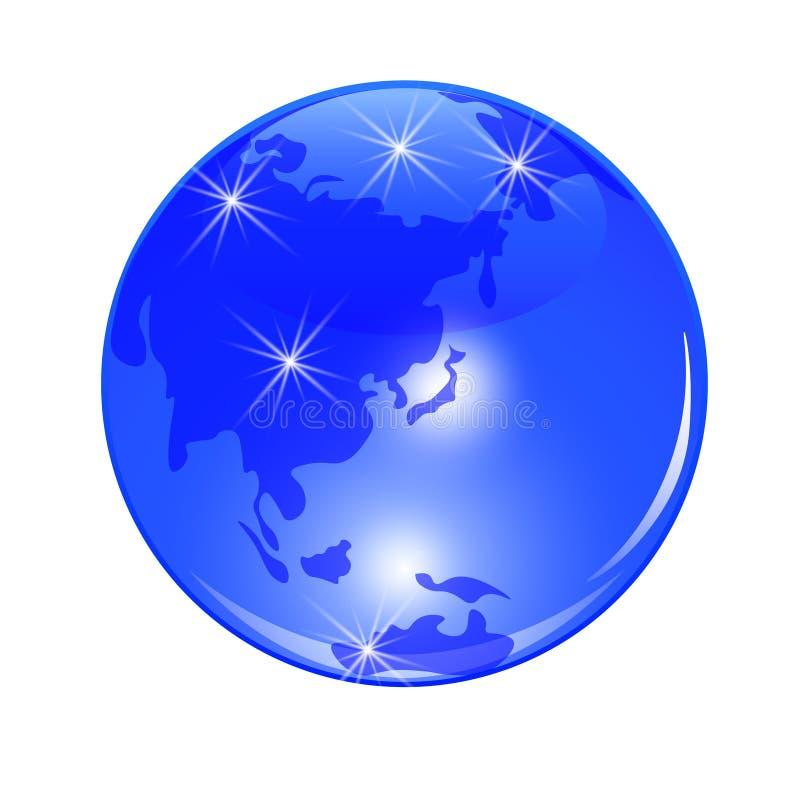 голубая планета земли Взгляд от Японии, Китая и Дальнего востока Стилизованный лоснистый шарик иллюстрация бесплатная иллюстрация
