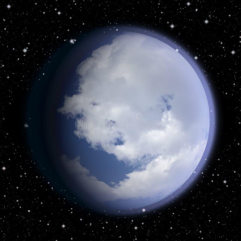 Голубая планета покрытая с облаками иллюстрация вектора