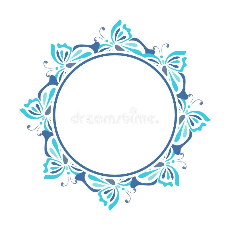голубая рамка круглая стоковые изображения
