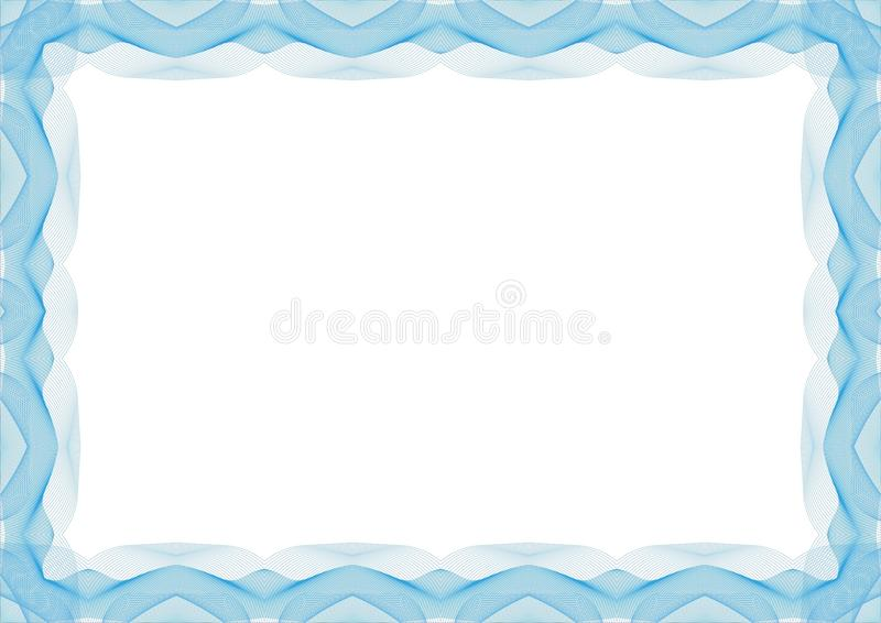 Голубая рамка шаблона сертификата или диплома - граница бесплатная иллюстрация