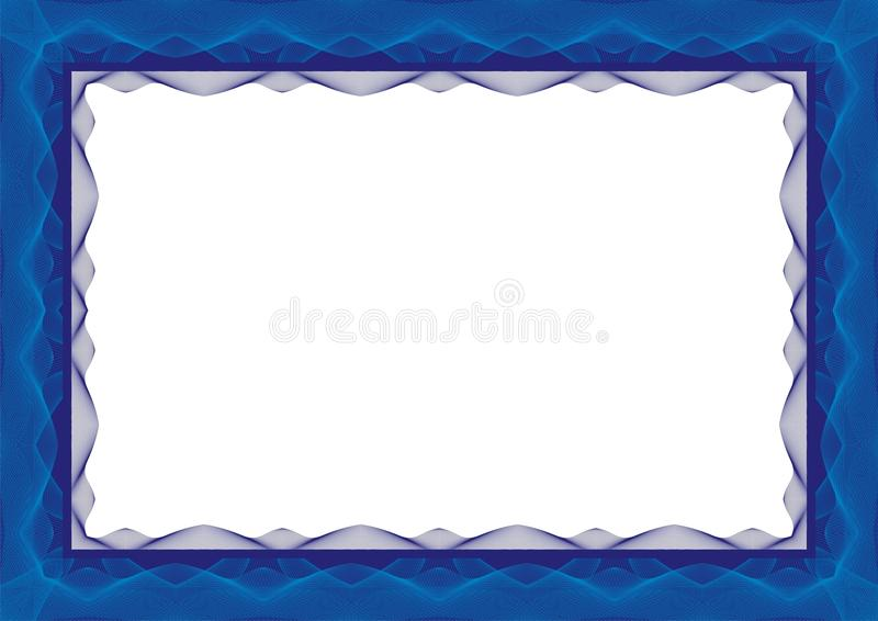Голубая рамка шаблона сертификата или диплома - граница иллюстрация штока