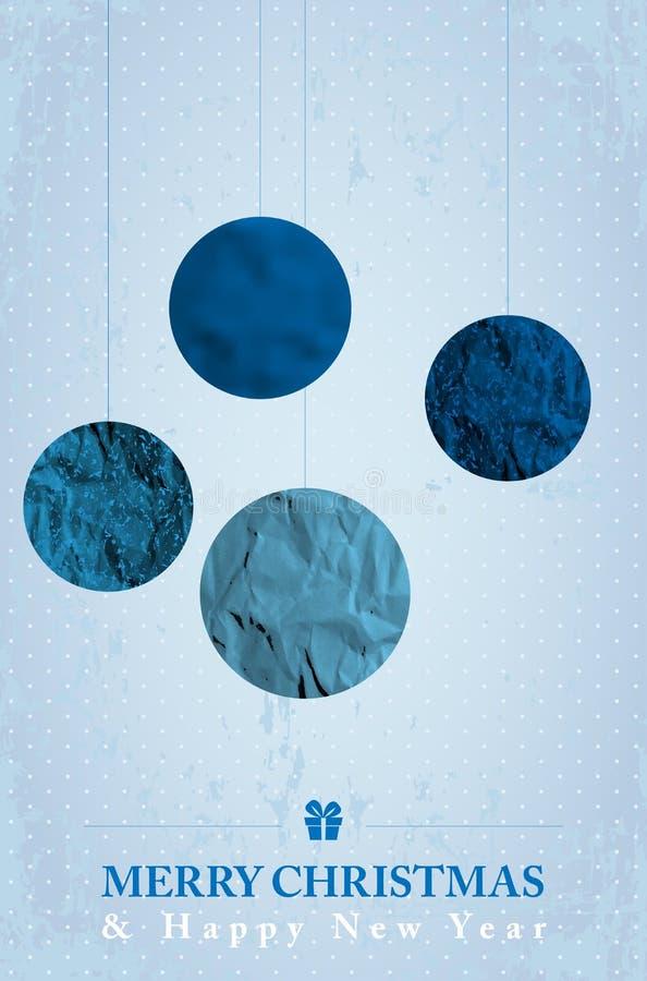 Голубая ретро рождественская открытка с абстрактными шариками рождества иллюстрация вектора