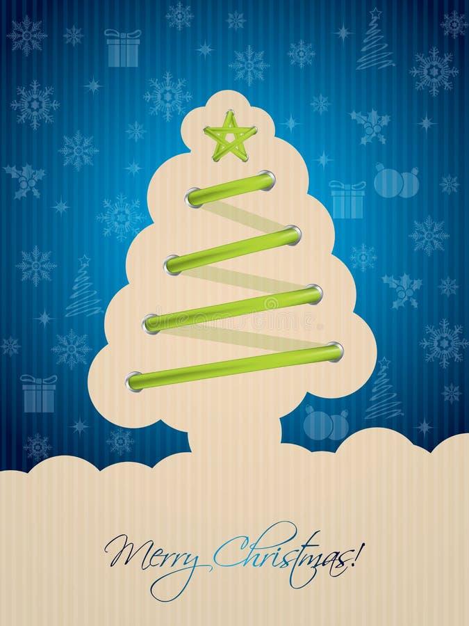 Голубая рождественская открытка с шнурком дерева иллюстрация вектора