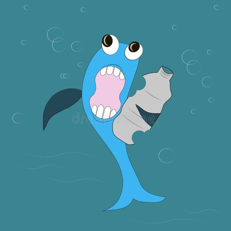 Голубая рыба с подбитыми глазами, синими ребрами, белыми зубами, розовый рот ест серую пластичную бутылку, открытое море иллюстрация штока