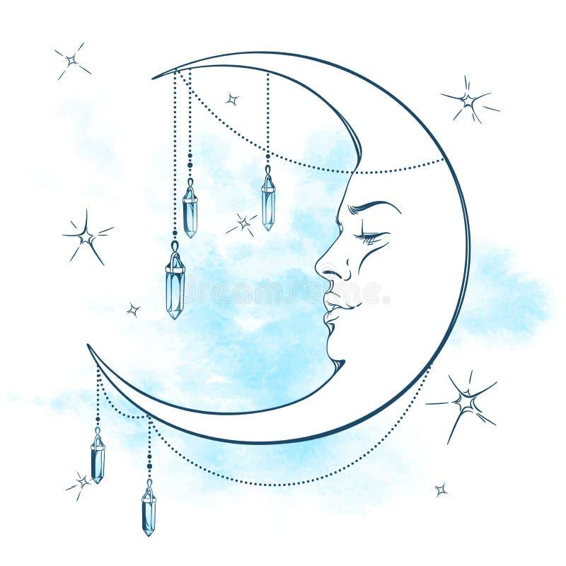 Голубая серповидная луна с шкентелями moonstone и звезды vector иллюстрация бесплатная иллюстрация