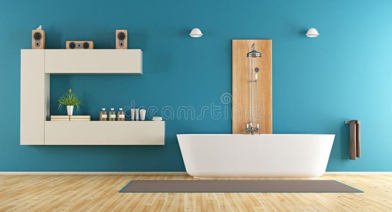 Голубая современная ванная комната бесплатная иллюстрация