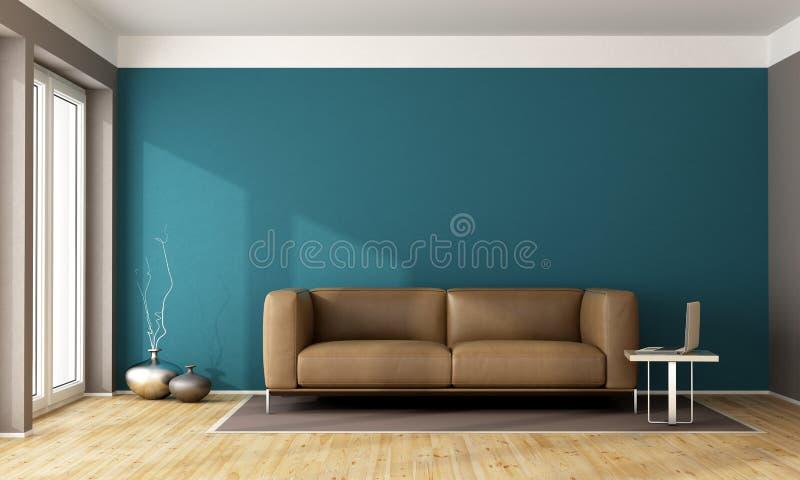 Голубая современная живущая комната бесплатная иллюстрация