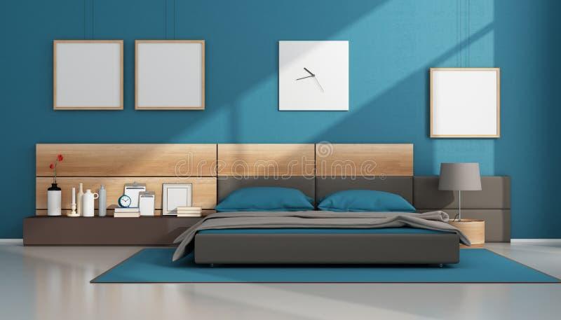 Голубая современная спальня бесплатная иллюстрация
