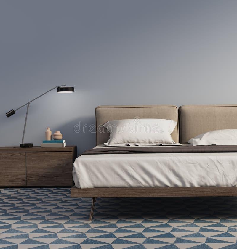 Голубая спальня с настольной лампой и плитками