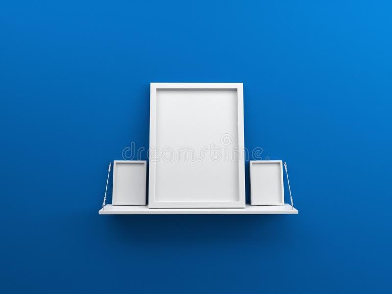 Голубая стена с полкой и пустое фото плаката обрамляют 3d стоковое изображение