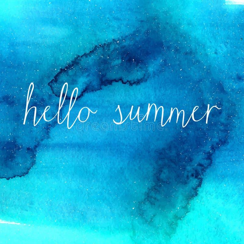 Голубая текстура акварели с летом текста здравствуйте! иллюстрация штока