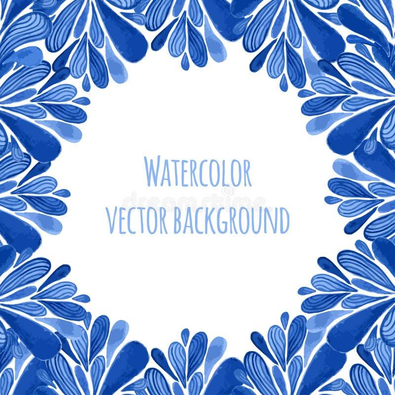 Голубая традиционная флористическая рамка в русском стиле gzhel или стиле Голландии Шаблон Vecor с украшением акварели смогите бы иллюстрация штока