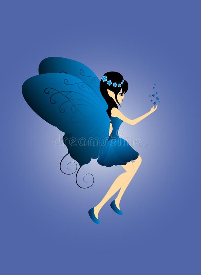 Голубая фея приносит звезду в ее руке бесплатная иллюстрация