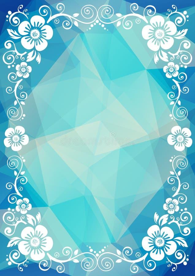 Голубая флористическая граница бесплатная иллюстрация