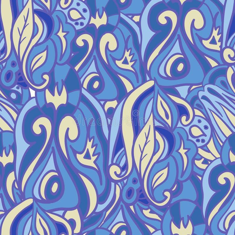 голубая флористическая картина безшовная стоковая фотография