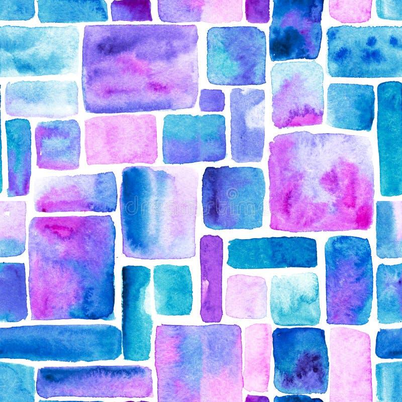 Голубая щетка акварели штрихует винтажную предпосылку картина безшовная Текстура пятен или пятен Watercolour неровная иллюстрация вектора
