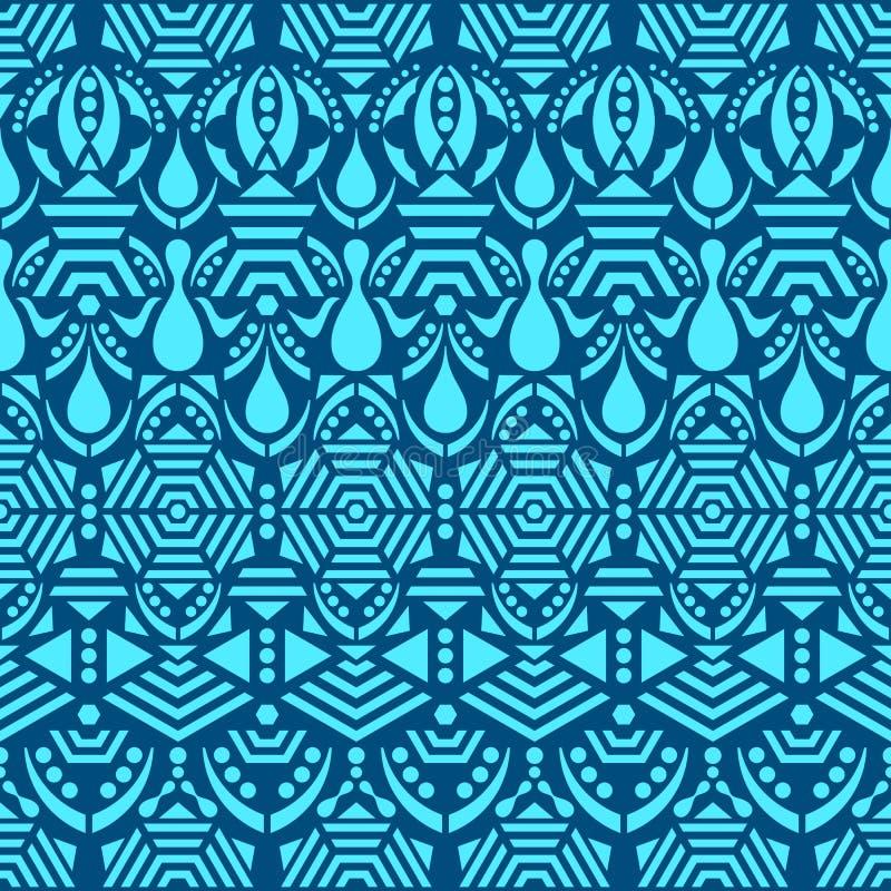 Голубая этническая племенная безшовная картина иллюстрация вектора
