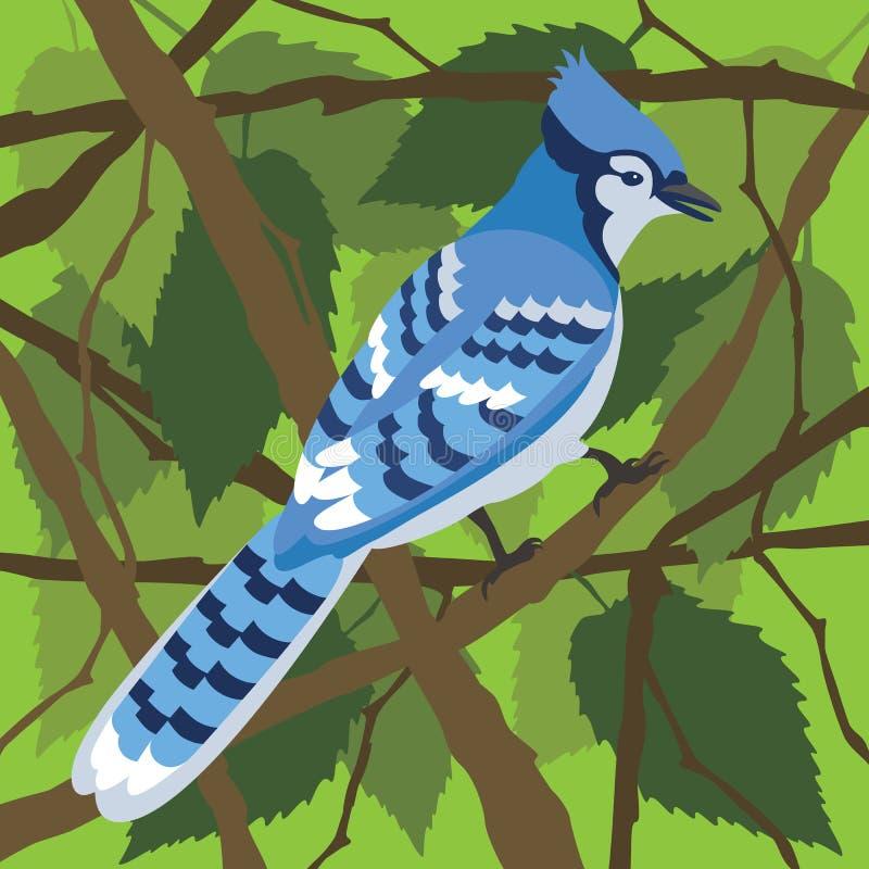Голубое Джэй в дереве иллюстрация вектора
