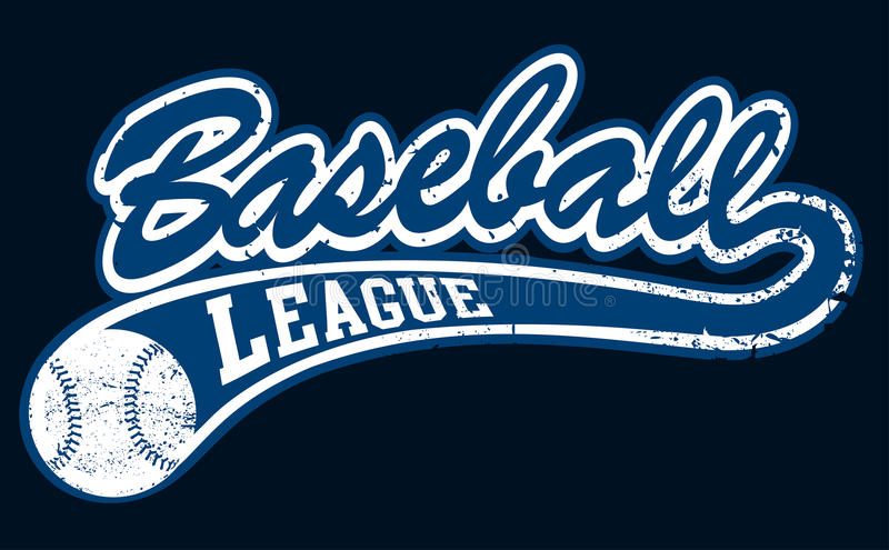Голубое знамя лиги бейсбола с шариком бесплатная иллюстрация