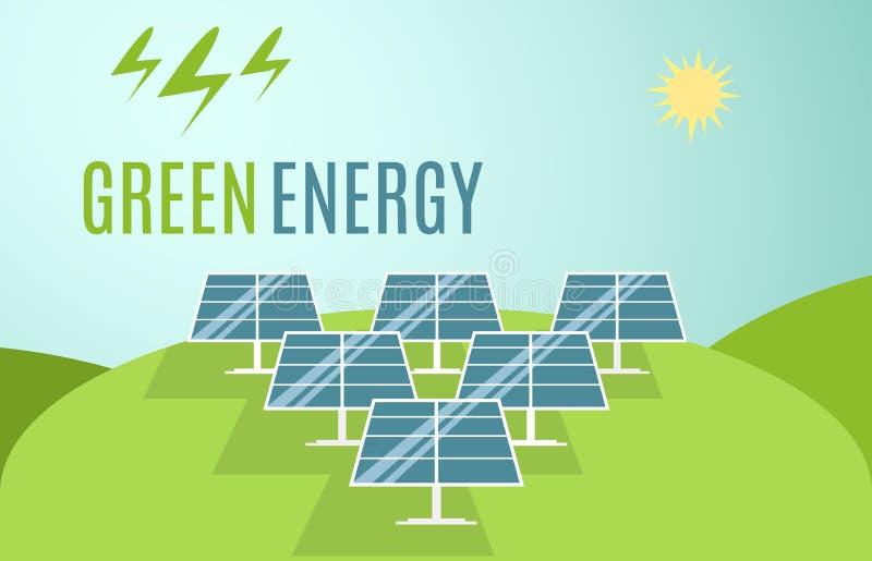Голубое знамя панелей солнечных батарей Современная альтернативная энергия зеленого цвета Eco также вектор иллюстрации притяжки c бесплатная иллюстрация