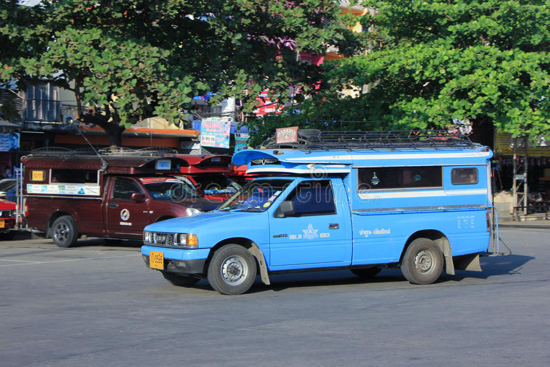 Голубое мини такси тележки стоковое фото