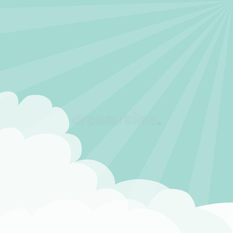 голубое небо Световые лучи Солнця разрывали облако солнечности пушистое в шаблоне рамки углов Cloudshape Пасмурная погода Плоский иллюстрация штока