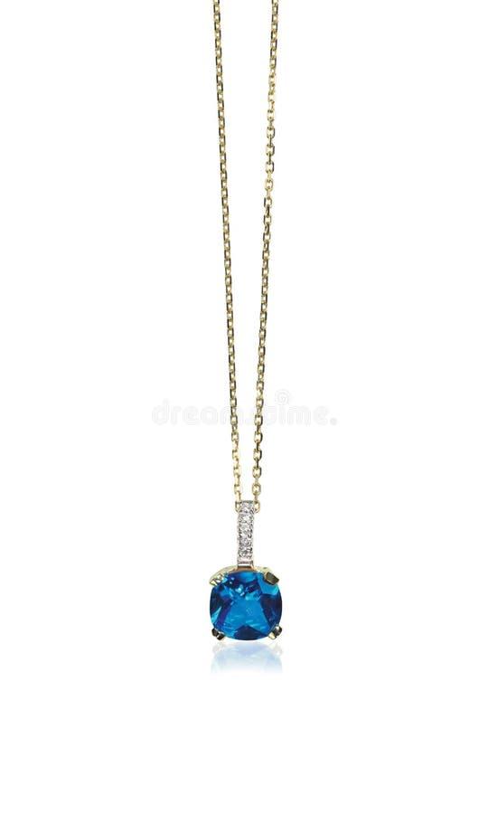 Голубое ожерелье самоцвета драгоценной камня падения сапфира стоковое изображение rf