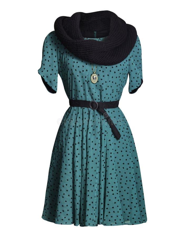 Голубое платье на белизне стоковая фотография