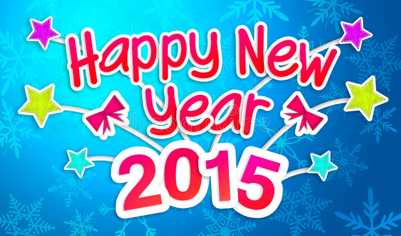 Голубое счастливое карточка искусства Нового Года 2015 приветствуя бумажная иллюстрация штока