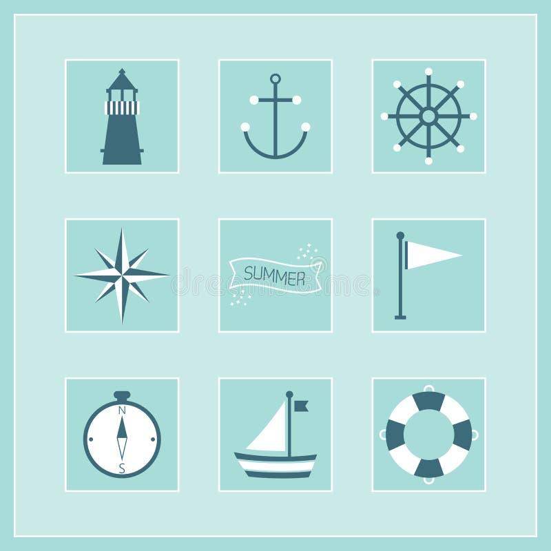 Голубое установленные лето и военноморские стикеры значков иллюстрация вектора