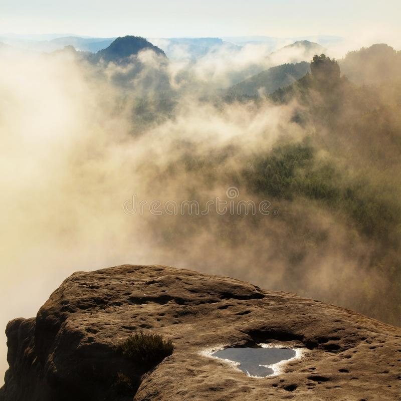 Голубое утро, взгляд над утесом к глубокой долине вполне ландшафта весны светлого тумана мечтательного внутри рассвет стоковая фотография