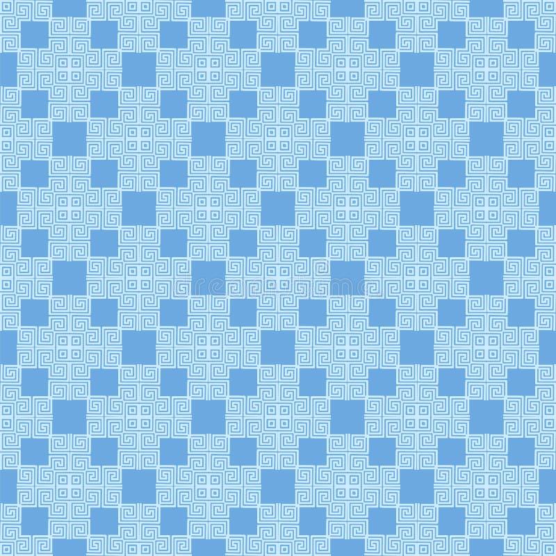 Голубой безшовный геометрический греческий орнамент иллюстрация штока