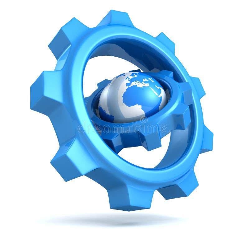 Голубой глобус земли с большими шестернями вокруг иллюстрация вектора