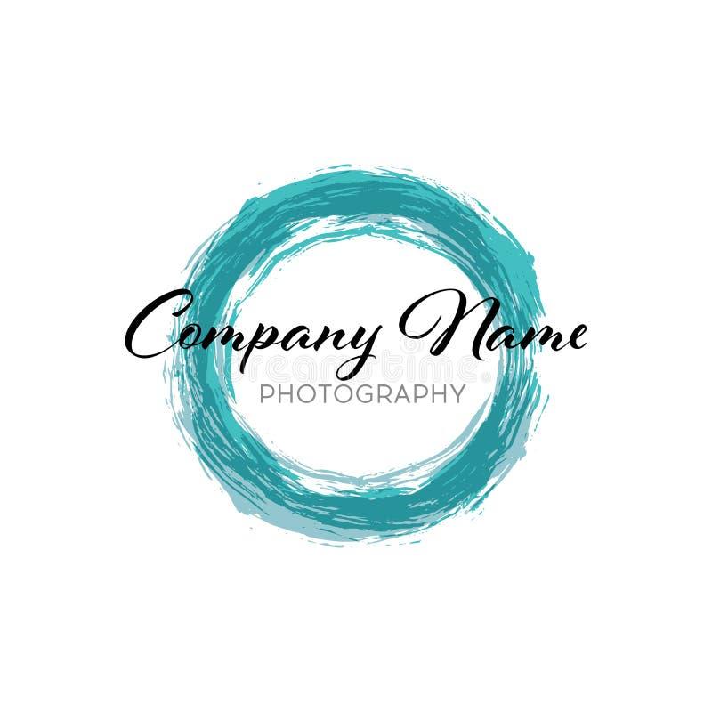 Голубой значок круга конспекта дела шаблон для корпоративного, средства массовой информации дизайна логотипа вектора, стиль техно бесплатная иллюстрация