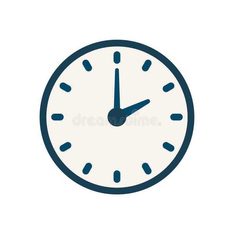 Голубой значок часов вектора, плоский линейный знак времени иллюстрация вектора