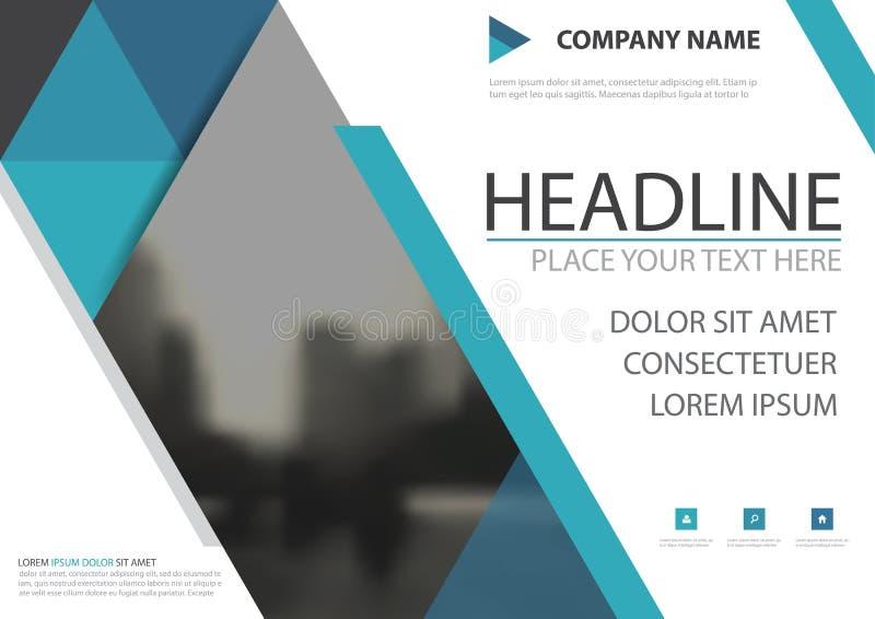 Голубой дизайн вектора крышки рогульки брошюры дела треугольника, листовка рекламируя абстрактную предпосылку, современный план к иллюстрация вектора